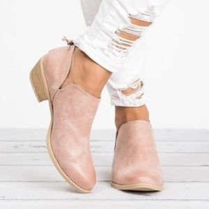 Shoes - Light Pink Zippered Back Cutout Side Booties